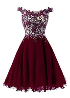 Beautiful Wine Red Short Lace Applique Party Dress, A-Line Short Homecoming Dresses   cg11467