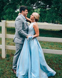 Blue A-line Long Prom Dress with Cross Back   cg11476