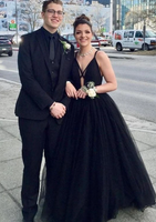 Deep V Neck Black Long Prom Dress, Black Formal Graduation Evening Dress, Fluffy Ball Gown   cg11487
