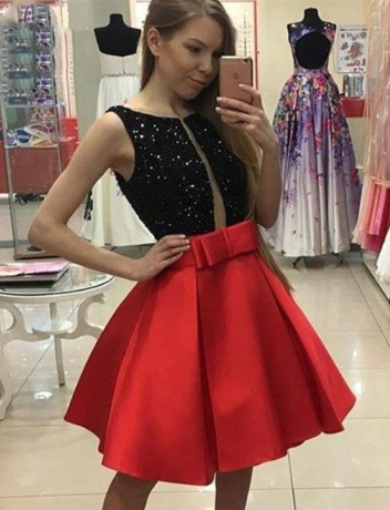 Elegant Black top Dress, Red Short Homecoming Dresses cg1148