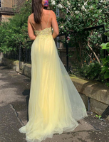 Yellow v neck tulle lace long prom dress yellow formal dress   cg11511