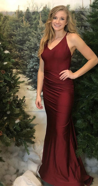 chic mermaid long prom dresses, burgundy evening party dresses    cg11514