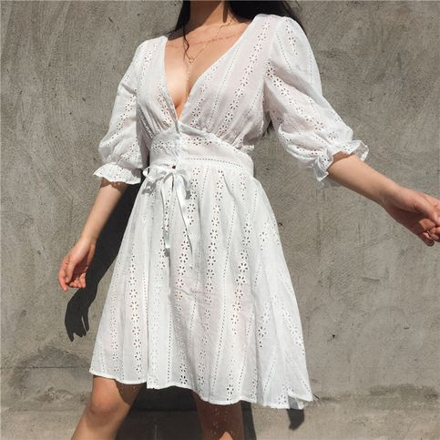 White Deep V-neck Flared Sleeves Short homecoming Dress cg1151