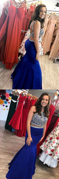 Sparkly Beaded Two Piece Prom Dresses, Royal Blue Satin Evening Party Gowns   cg11534