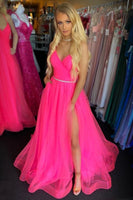 A Line V Neck Backless Hot Pink Long Prom Dress with Slit, Backless Hot Pink Formal Dress, Hot Pink Evening Dress  cg11537