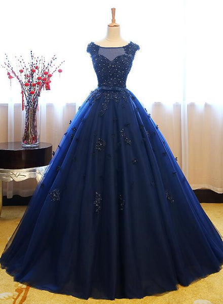 Navy Blue Tulle Cap Sleeves Quinceanera Dresses, Blue Beaded Ball Gown Party Dress prom dress evening dress   cg11552