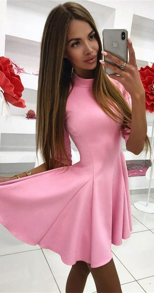 simple pink stain short homecoming dresses, formal half sleeves graduation dress for junior, cheap hoco dress cg1156