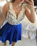 Blue Beading And Applique Short Party Dresses  homecoming dress   cg11577
