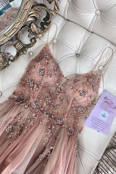 straps A-line rosegold tulle long evening dress with beaded bodice prom dress   cg11589