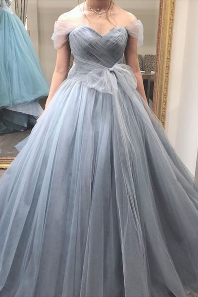 Princess Grey Tulle Long Prom Dress   cg11595