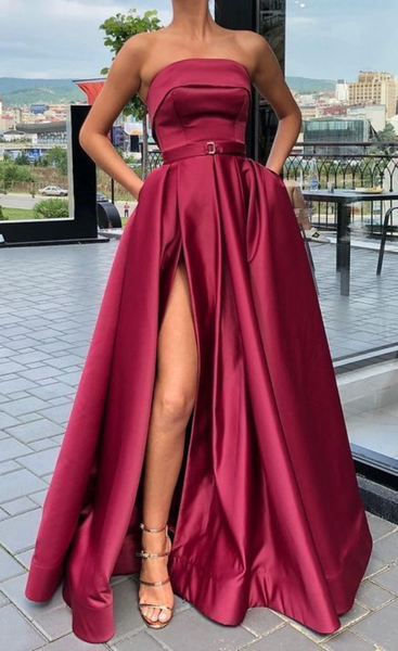 A line strapless burgundy prom dress with side slit cg1161