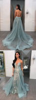 Unique v neck tulle lace long prom dress, evening dress cg1162