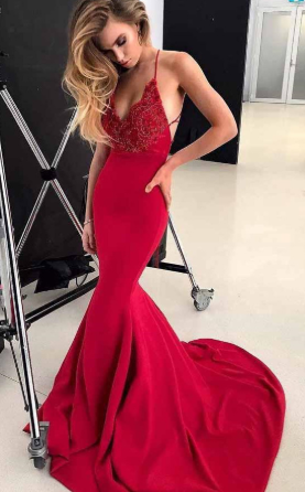 Sexy Spaghetti Straps Evening Gown Red Mermaid Prom Dress with Beading cg1163