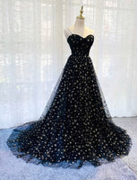 BLACK TULLE LONG PROM GOWN FORMAL DRESS   cg11648