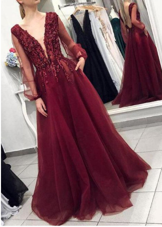Elegant Deep V-neck Burgundy Backless Prom Dress With Long Puff Sleeves  cg1164