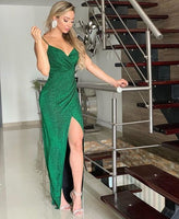 Green V Neck Long Prom Dress With Split    cg11652
