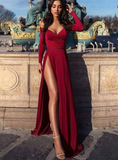 Charming Burgundy Off the Shoulder Long Sleeves Prom Dress With Slit cg1165