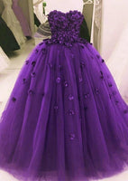 Purple Tulle Flowers Prom Dress Sweetheart A Line Formal Evening Dresses Long Party Gowns   cg11670