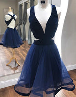 Deep V-Neck Sexy Cocktail Dresses with Criss Cross Back A Line Navy Blue homecoming dress cg11695