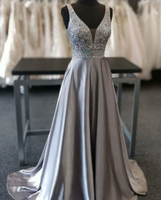 Beautiful Elegant Silver Grey Prom Dress,Beaded Evening Gowns,V Neck Formal Dress,Special Occasion Dress cg1171