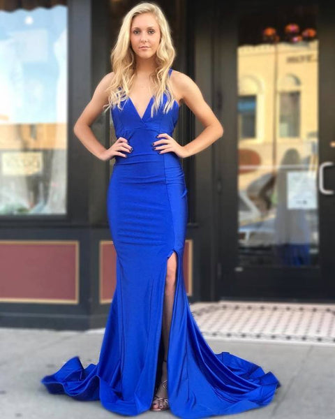 Royal Blue Mermaid Backless Prom Dress,Prom Dreses Long    cg11722