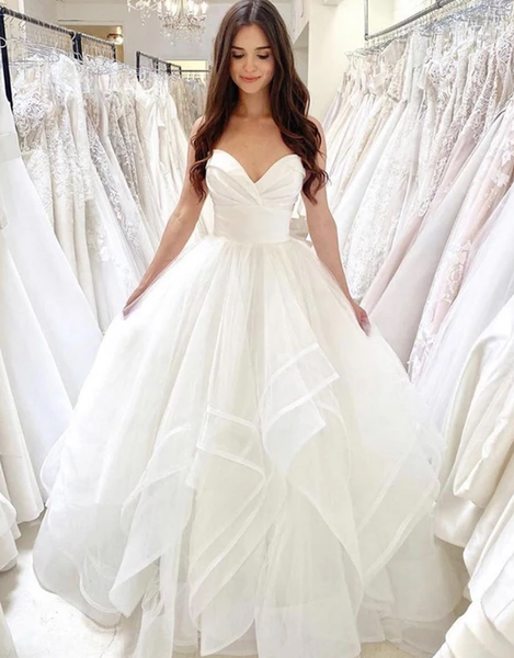 White tulle long ball gown dress wedding dress Prom Dress,Prom Dreses Long   cg11725