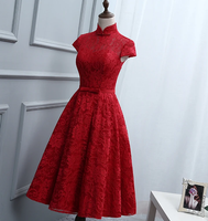 Red Lace Knee Length High Neckline Party Dress, Lace Homecoming Dresses   cg11726