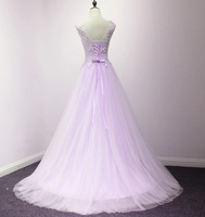Lovely Tulle Round Neckline With Flowers, Long Wedding Party prom Dreses   cg11728