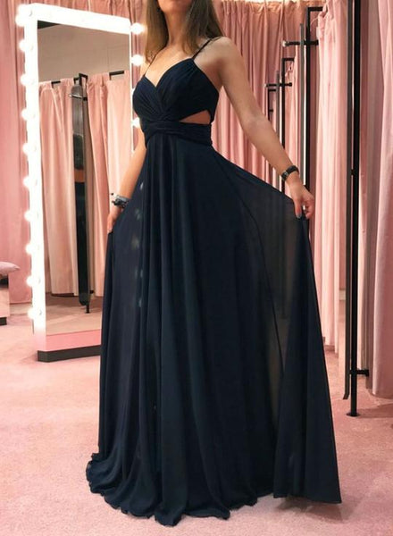 Black chiffon long prom dress, simple evening dress cg1172