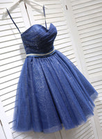Cute dark blue tulle short dress, homecoming dress cg1176