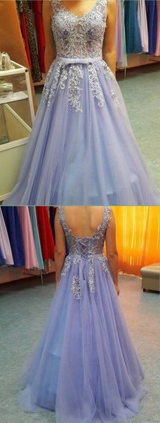 V-Neck Appliques Prom Dress,Long Prom Dresses   cg11789