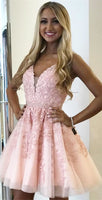 A-Line V-neck Above-Knee Pink Homecoming Dress  cg1178