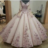 Charming Lace Embroidery Long Sleeves Ball Gown Prom Dress   cg11798