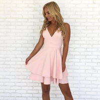 pink short chiffon homecoming dress, back to school cg117
