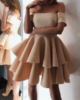 Cute A-line Off The Shoulder Ruffles Homecoming Dresses cg118