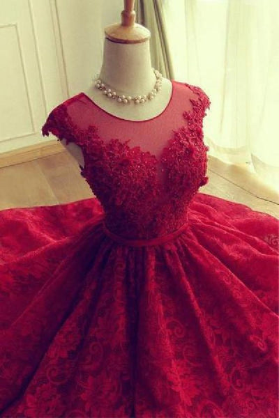 Short homecoming Dress, Lace Dress, Red Sexy Party Dress cg1180