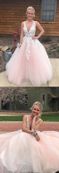 Pink V neck Tulle Long Prom Dress with white Appliques, Formal Dress   cg11810
