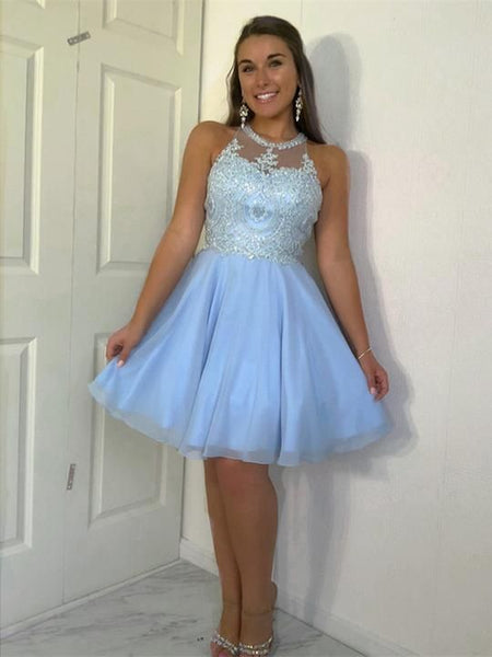 Amazing Halter Sleeveless Appliques Beading Top Tulle Homecoming Dresses cg1182