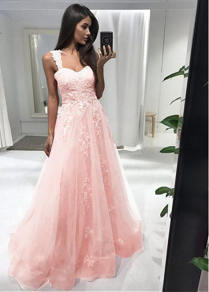 Pink A-Line Sweetheart Long Prom Dress   cg11844