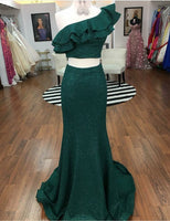 Two Pieces long Prom Dress,party Dress,sequin Evening Dress    cg11857