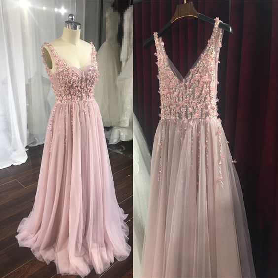 Charming Pink Flower And Beaded Backless Gown, High Quality Formal prom Dress   cg11858