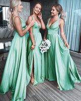 Sexy Deep V Neck Long Prom Dresses with Straps   cg11861