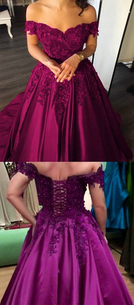 Off the Shoulder Long Prom Dresses Fuchsia Quinceanera Dresses with Appliques    cg11863