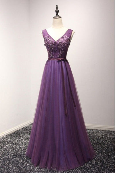 Gorgeous Purple Long Tulle Evening prom Dress With Beading For Women   cg11864