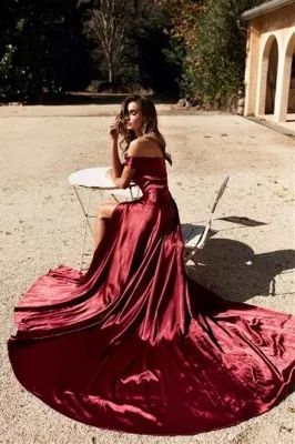 Burgundy Off The Shoulder Front Slit Cheap Mermaid Prom Dresses   cg11870