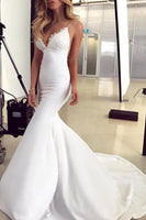 Elegant Lace Appliques V-Neck Backless White Sweetheart Spaghetti Straps Mermaid Wedding Dress Prom Dresses   cg11876