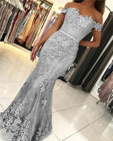 Lace Mermaid Prom Dresses Off Shoulder Formal Gowns  cg11885