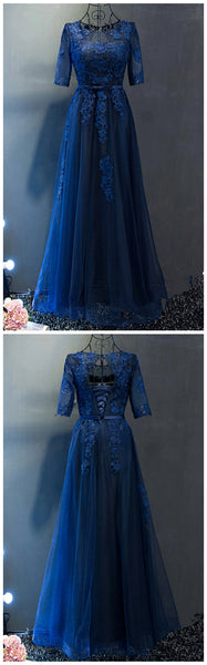 Navy Blue tulle see-through short sleeves lace applique long prom dress   cg11915