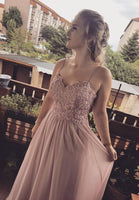 Pink chiffon lace long prom dress evening dress   cg11925