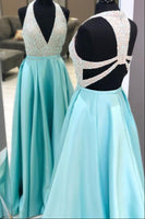 Gorgeous Elegant Custom Made Plunging Neck Long Beading Ice Blue Prom Dress   cg11960